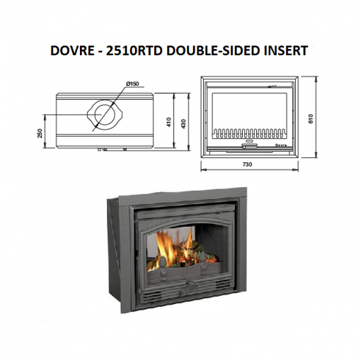 Dovre 2510 RTD double sided fireplace 3