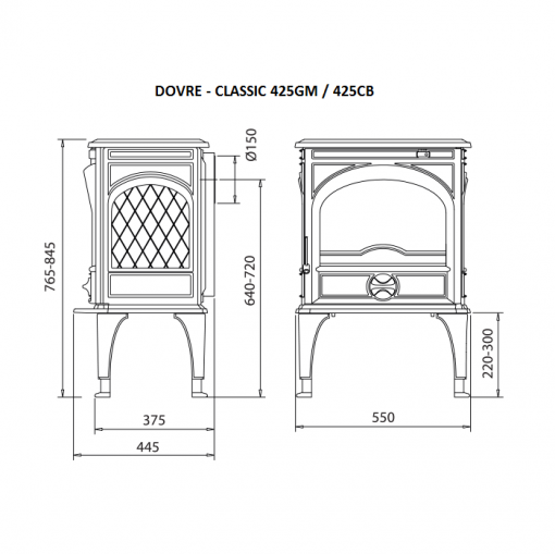 Dovre 425 GM E8 off-white enameled fireplace 2
