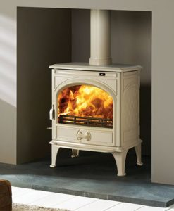 Dovre 425 GM E8 off-white enameled fireplace