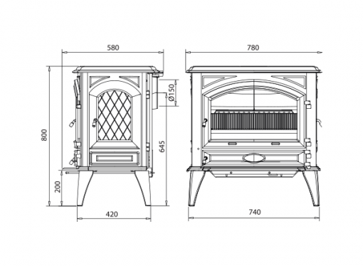 Dovre 760 GM with hopper fireplace 2