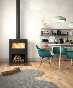 Dovre Bow on woodbase fireplace 1