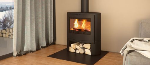 Dovre Bow on woodbase fireplace 2