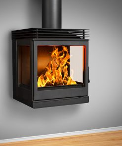 Hydrofire Nova Wall Mounted Side Glass (with Top Plate Diffuser) Fireplace