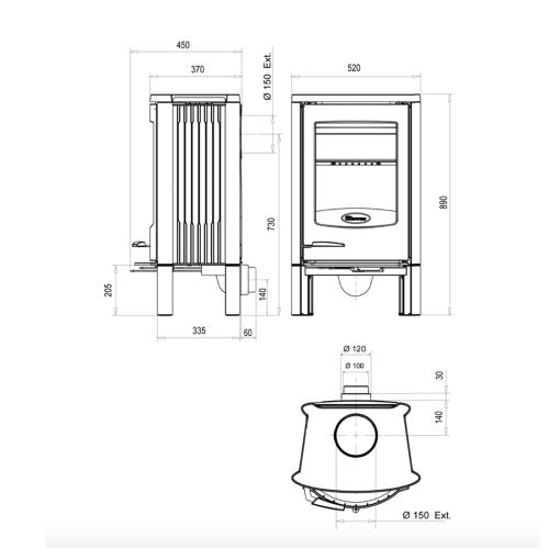 Dovre-–-Astroline-2-Wood-burning-Closed-Combustion-Fireplace-with-legs-dimensions