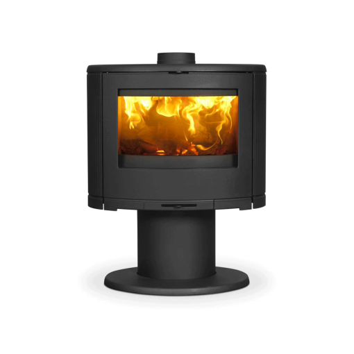 dovre-bow-on-pedestal closed combustion fireplace